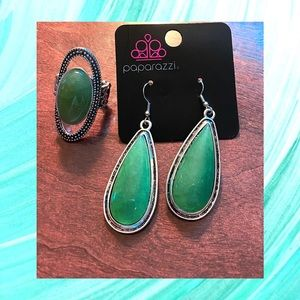 Green Teardrop Earrings and Studded Green Ring Set